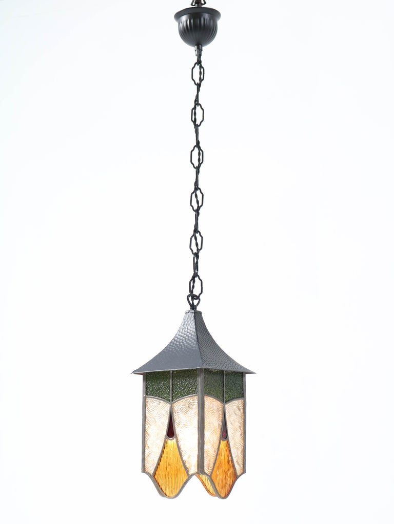 Wrought Iron Art Deco Lantern with Stained Glass For Sale 2