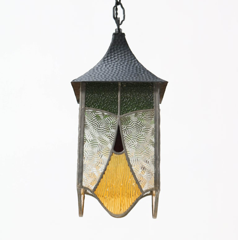 Wrought Iron Art Deco Lantern with Stained Glass For Sale 4