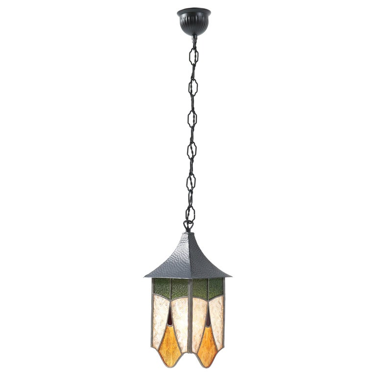 Wrought Iron Art Deco Lantern with Stained Glass For Sale