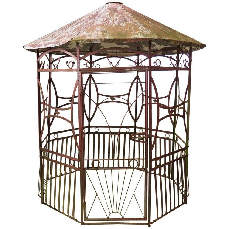 Art Deco Ornamental Ironwork: Wrought Iron Art Deco Pergola, France, 1920s For Sale At