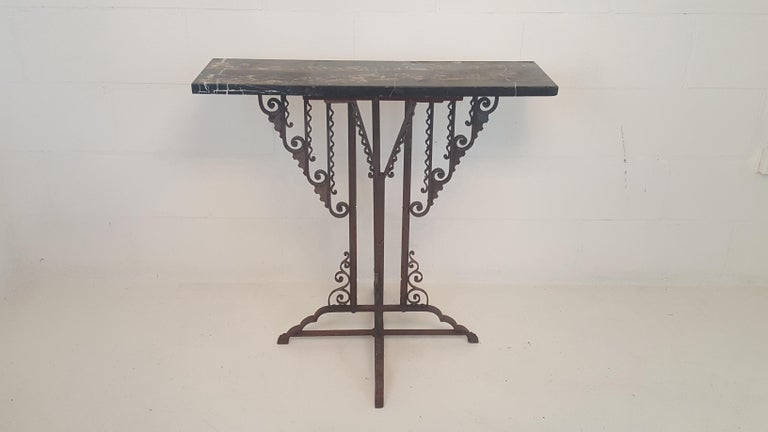 Wrought Iron Art Deco Stand or Pedestal In Fair Condition For Sale In Castenray, NL