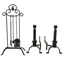 Wrought Iron Arts & Crafts Andirons and Tool Set