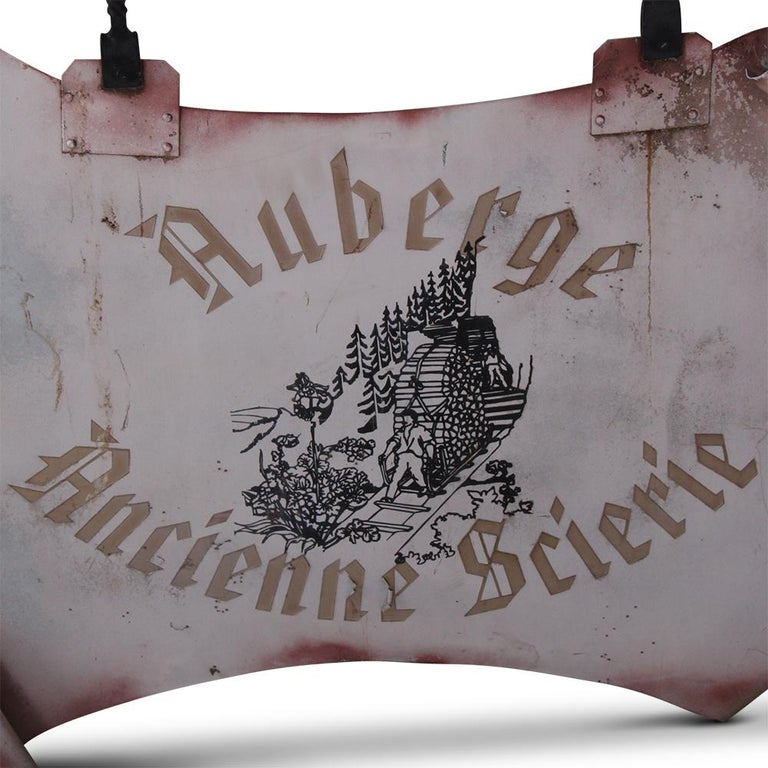 """Wrought Iron """"Auberge Ancient Sawmill"""" Sign In Good Condition For Sale In Vancouver, British Columbia"""