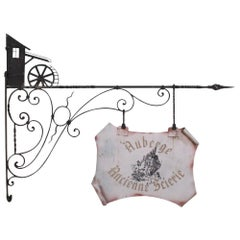 """Wrought Iron """"Auberge Ancient Sawmill"""" Sign"""