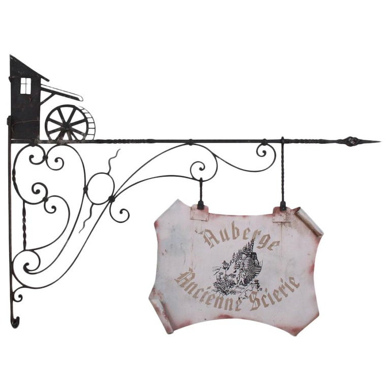 """Wrought Iron """"Auberge Ancient Sawmill"""" Sign For Sale"""