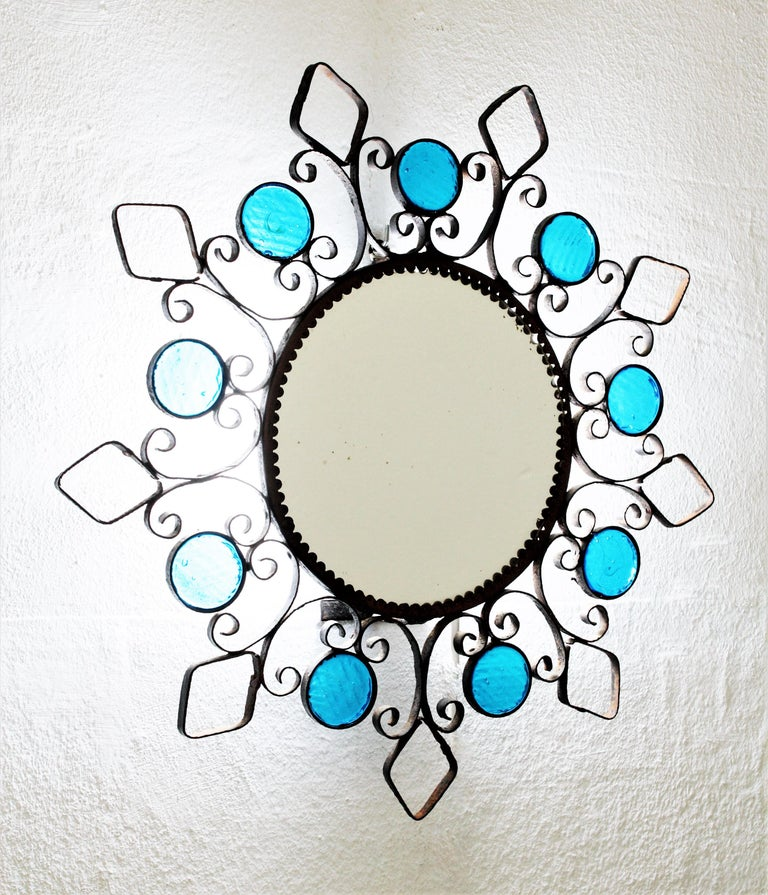 Wrought Iron Backlit Sunburst Mirror with Blue Glasses and Scroll Motif For Sale 4