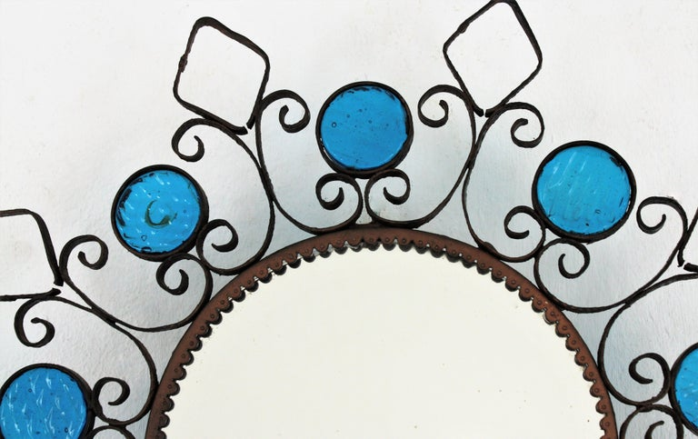 Wrought Iron Backlit Sunburst Mirror with Blue Glasses and Scroll Motif For Sale 3