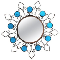 Sunburst Spanish Mirror Wall Sconce, Wrought Iron and Blue Glasses