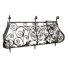 Wrought Iron Balcony, 19th Century French Bombe with Original Returns
