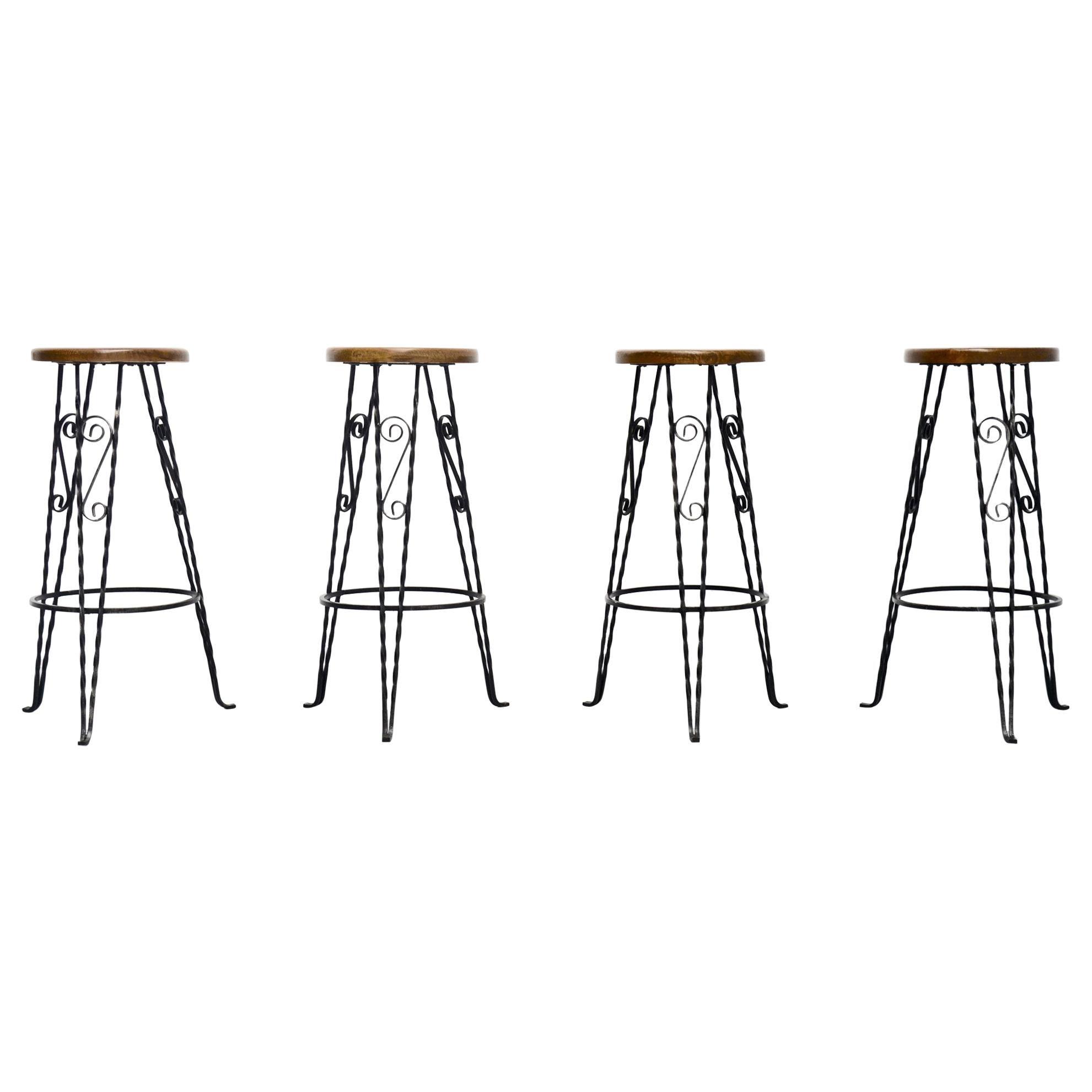 Wrought iron bar stools France 1960