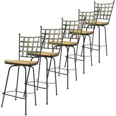 Wrought Iron Barstools w Rush Swivel Seats Manner of Salterini Mario Papperzini