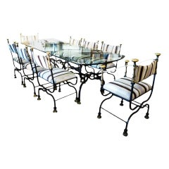 Wrought Iron Base and Glass Top Dining Room Set, with 6 Chairs and 2 Armchairs