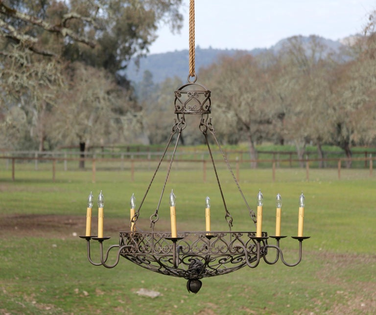 American Wrought Iron Basket Chandelier For Sale