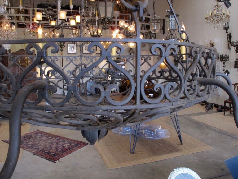 Forged Wrought Iron Basket Chandelier For Sale