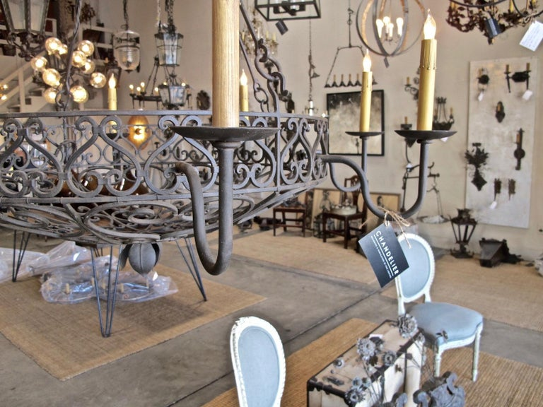 Wrought Iron Basket Chandelier In New Condition For Sale In Encinitas, CA