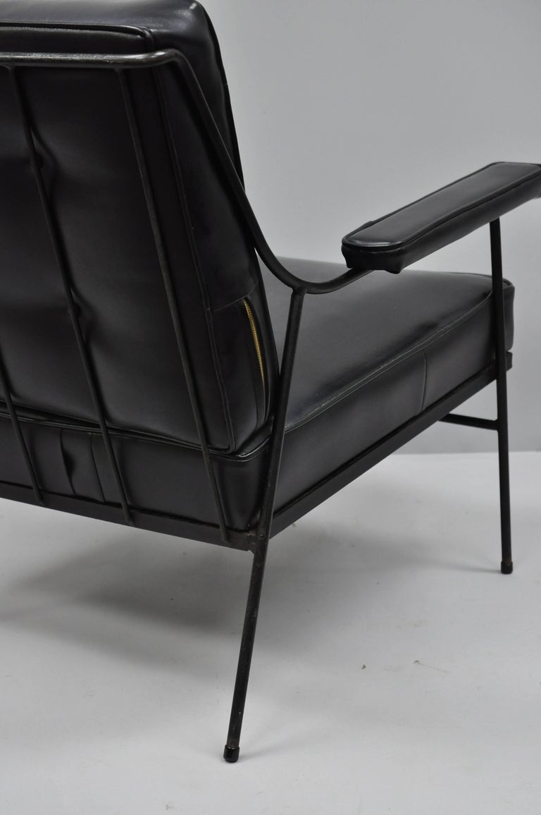 Wrought Iron and Black Vinyl Lounge Chair attr Milo ...