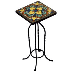 Wrought Iron California Ceramic Tile-Top Table Pedestal or Candle Stand