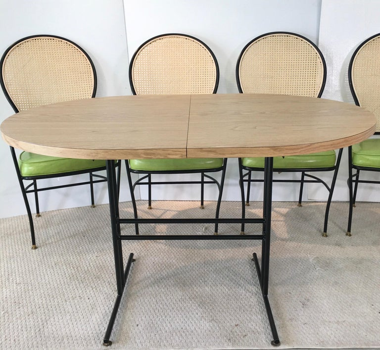 Wrought Iron Caned Back Chairs and Dinette Table For Sale 2