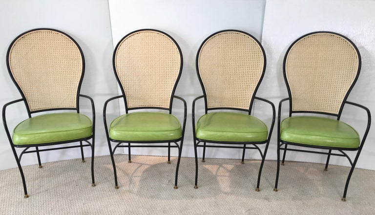 Wrought Iron Caned Back Chairs and Dinette Table For Sale 5
