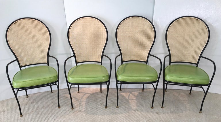 Wrought Iron Caned Back Chairs and Dinette Table For Sale 6