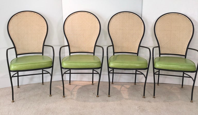 Wrought Iron Caned Back Chairs and Dinette Table For Sale 7