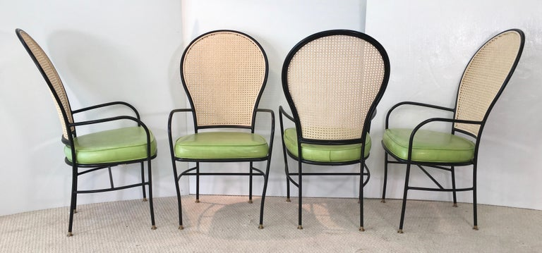 Wrought Iron Caned Back Chairs and Dinette Table For Sale 8