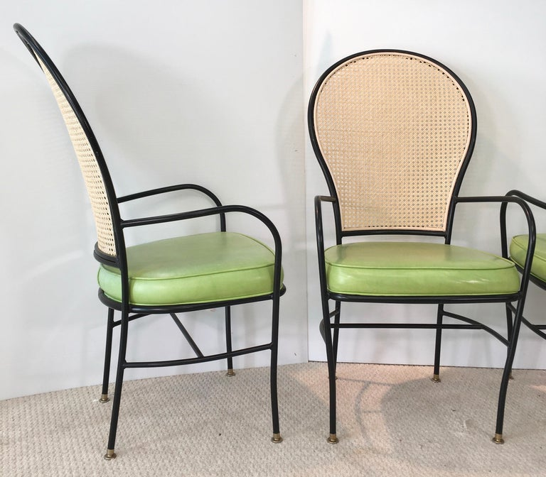Wrought Iron Caned Back Chairs and Dinette Table For Sale 9