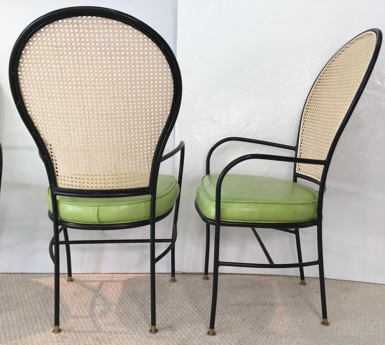 Wrought Iron Caned Back Chairs and Dinette Table For Sale 10