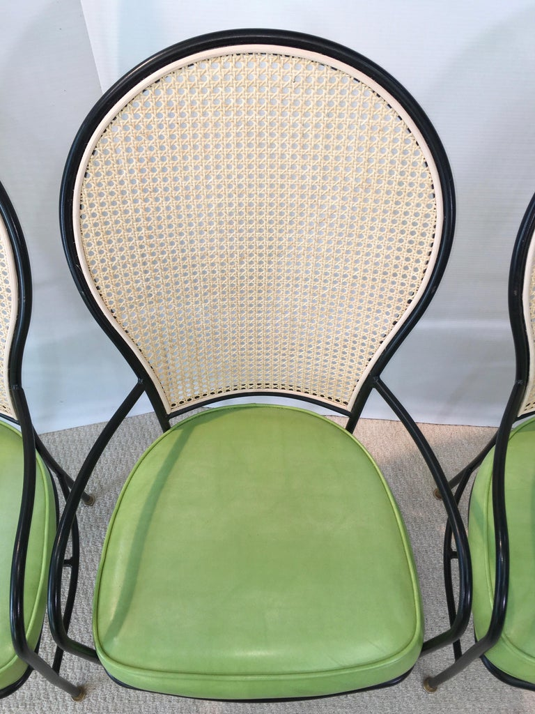 Wrought Iron Caned Back Chairs and Dinette Table For Sale 11