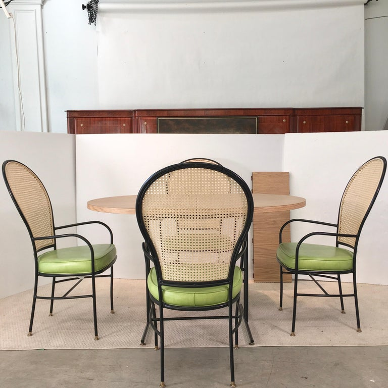 American Wrought Iron Caned Back Chairs and Dinette Table For Sale