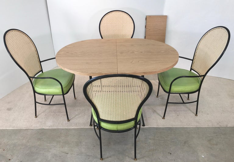 Wrought Iron Caned Back Chairs and Dinette Table In Good Condition For Sale In Hingham, MA