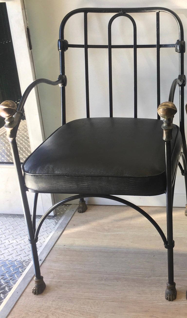 Wrought Iron Chair with Bronze Ball after Giacometti In Excellent Condition For Sale In Los Angeles, CA