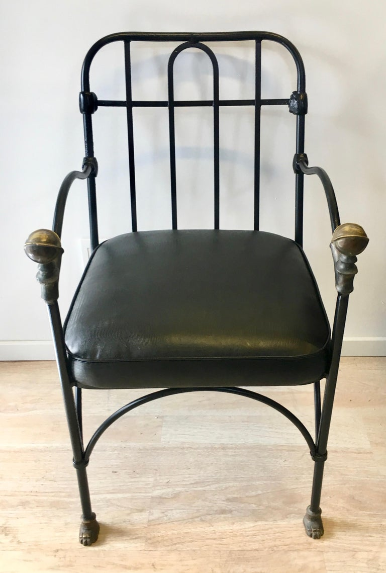 Wrought Iron Chair with Bronze Ball after Giacometti For Sale 2