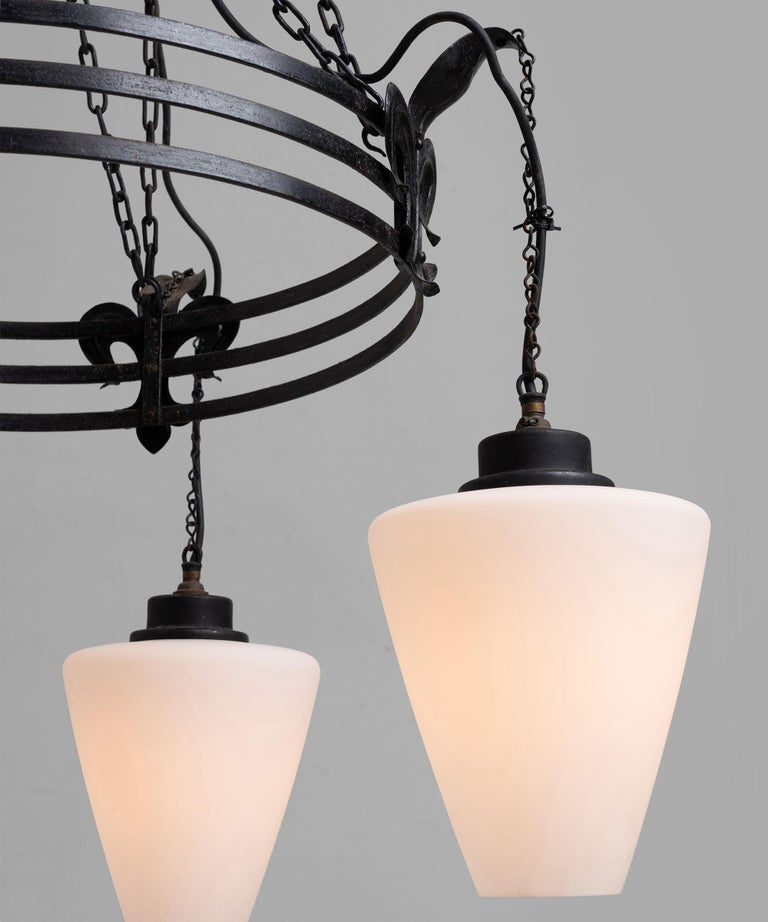 """4 Opaline glass shades, with original hooks and chains.   Measures: 30.5"""" diameter x 61.5"""" height."""