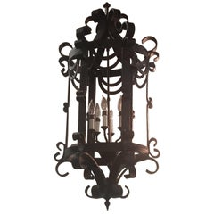 Classic Gothic Scroll Lantern Ribbon Style Wrought Iron Chandelier Hand Forged
