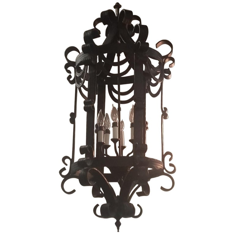 Ribbon Style Wrought Iron Chandelier