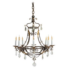 Wrought Iron Chandelier, in Golden Party, 19th Century, Crystal Pendants