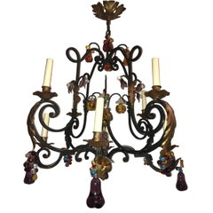 Wrought Iron Chandelier with Fruit Pendants