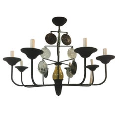 Wrought Iron Chandelier with Glass Pendants