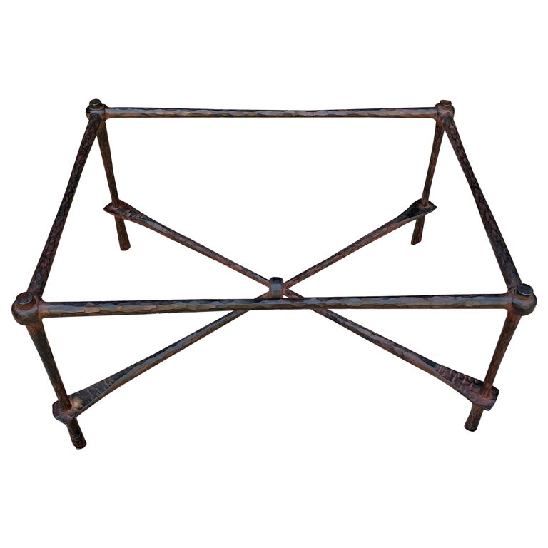 Wrought Iron Coffee Table in the Manner of Giacometti For Sale