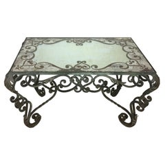 Wrought Iron Coffee Table with Églomisé Mirror Attributed to Gilbert Pollierat