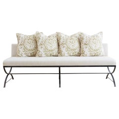 Wrought Iron Curule Style Dining Banquette Bench