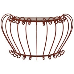 Wrought Iron Demilune with Pink Marble Top
