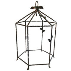 Wrought Iron Diego Giacometti Style Large Cage for Chandelier