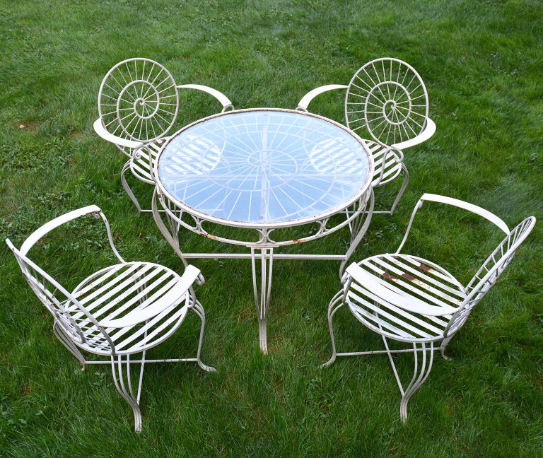 Art Deco Wrought Iron Dining Set For Sale