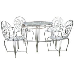 White Iron Four-Person Table and Chairs