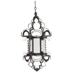 Wrought Iron Filigree Baroque Style Hanging Glass Paned Lantern, 19th century