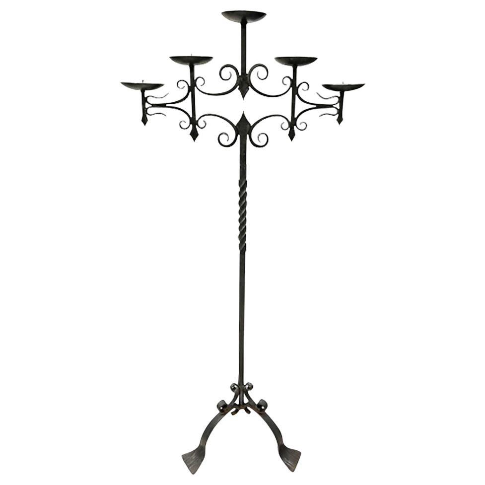 Wrought Iron Floor Candleholder