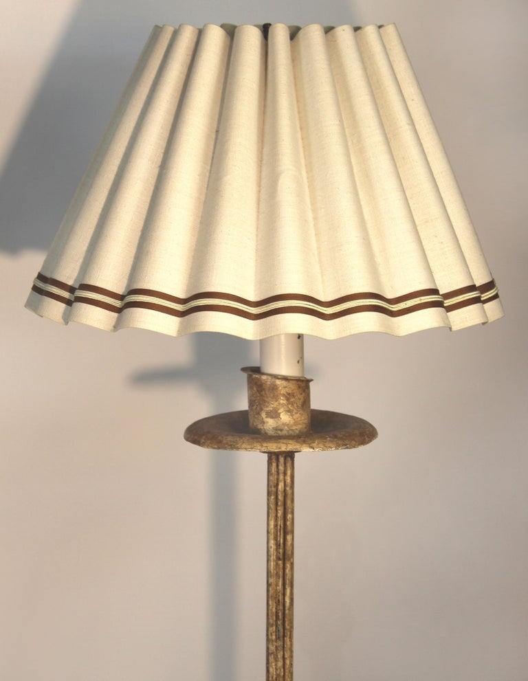 Wrought Iron Floor Lamps With Custom Scalloped Linen