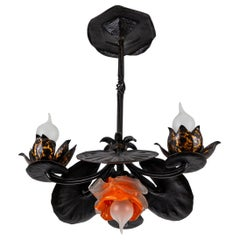 Wrought Iron Four-Light Water Lily Chandelier with Orange Glass Lampshade